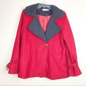 Red peacoat jacket Women's XL wool felted